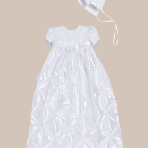 Girls White Polyester Taffeta Christening Baptism Gown with Rosettes and a Bonnet