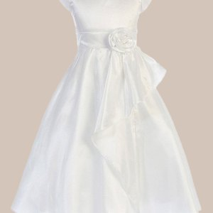 Cascading Taffeta Flower Girl Communion Dress with Taffeta Flower Waist Accent