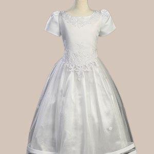 White Satin Communion Baptism Dress with Tulle Skirt