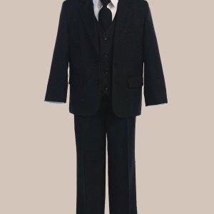 5-Piece Boy's 2-Button Jacket 4-Button Vest Husky Dress Suit - Black