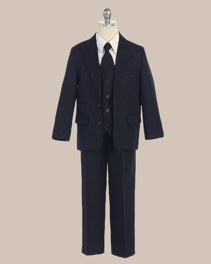 5-Piece Boy's 2-Button Jacket 4-Button Vest Husky Dress Suit - Navy Blue