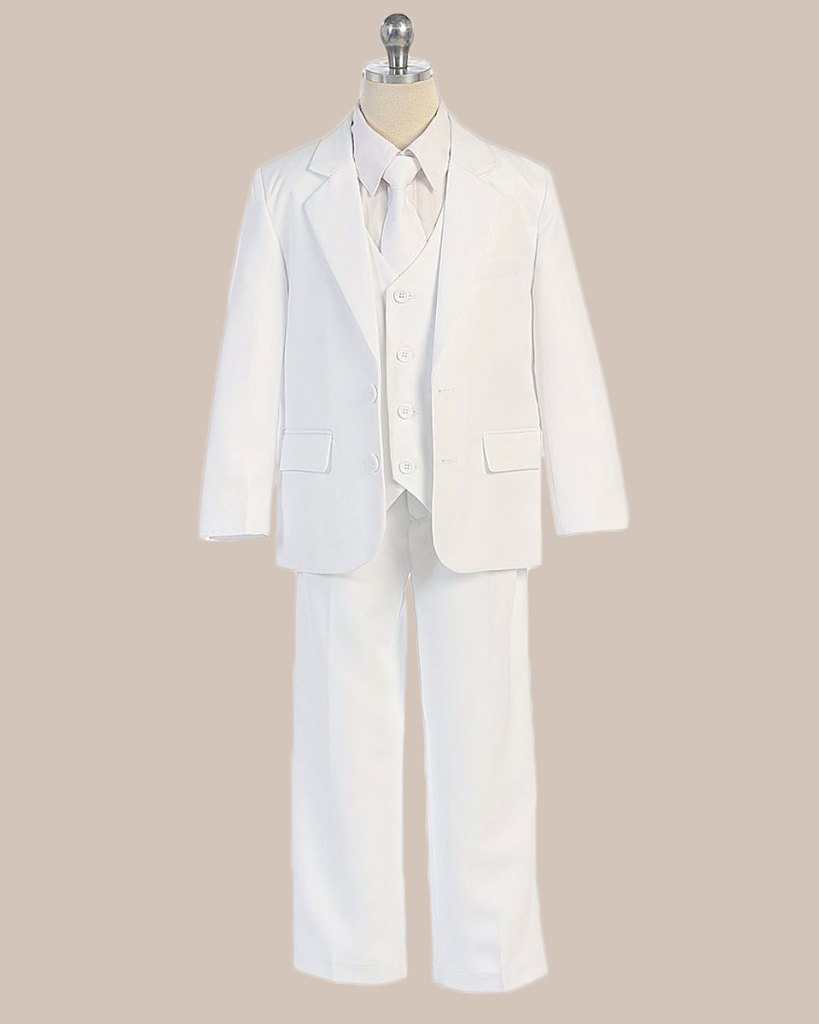 5-Piece Boy's 2-Button Jacket 4-Button Vest Dress Suit - White