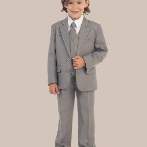 5-Piece Boy's 2-Button Dress Suit Tuxedo - Light Gray