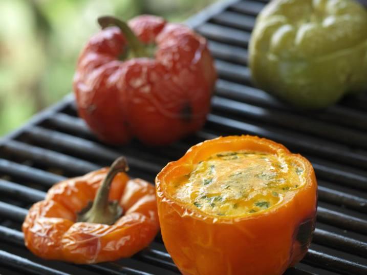 BBQ Scrambled Eggs in Peppers Recipe