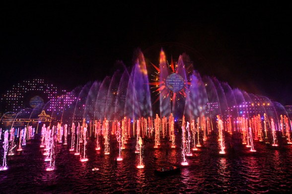 """WORLD OF COLOR - SEASON OF LIGHT -- """"World of Color - Season of Light"""" brings the warmth and heartfelt spirit of the holidays to this stunning, nighttime water spectacular, with its 1,200 powerful fountains shooting water as high as 200 feet to help tell the story. The show's musical soundtrack features some well-known musical artists performing popular holiday tunes, including """"Let it Snow""""by Dean Martin and """"Baby, It's Cold Outside"""" by Michael Buble and Idina Menzel. With classic holiday music, humor and memorable moments from Disney animated films, this becomes an ideal way for guests to conclude their holiday visit. (Scot Brinegar/Disneyland)"""