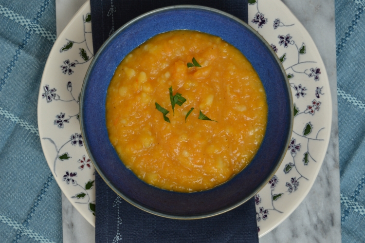 Kids in the kitchen – our chunky butternut squash soup…