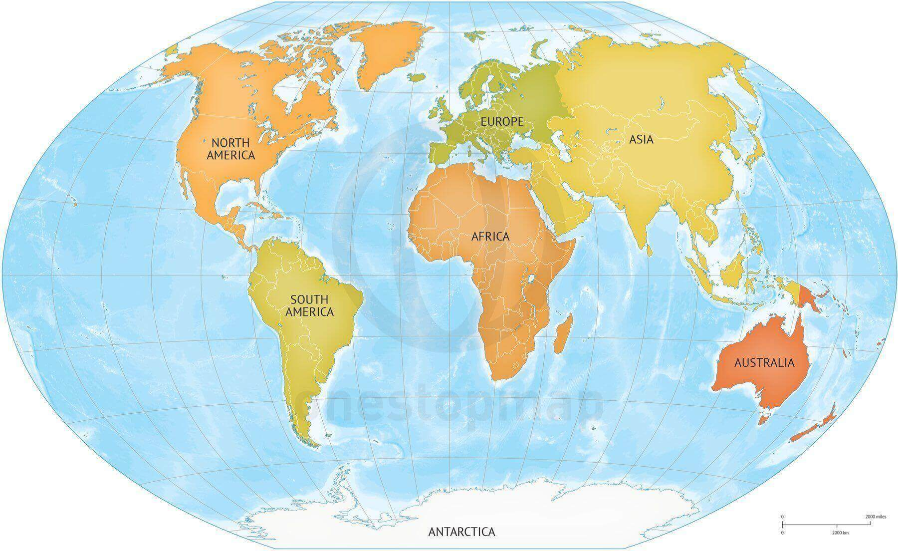 Vector Map Of World Bathymetry Continents