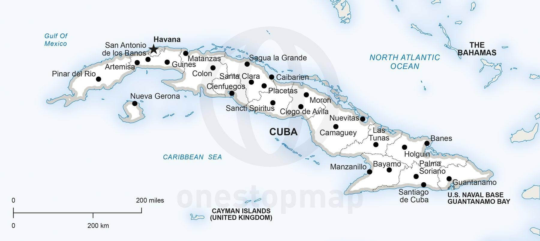 Vector Map Of Cuba Political