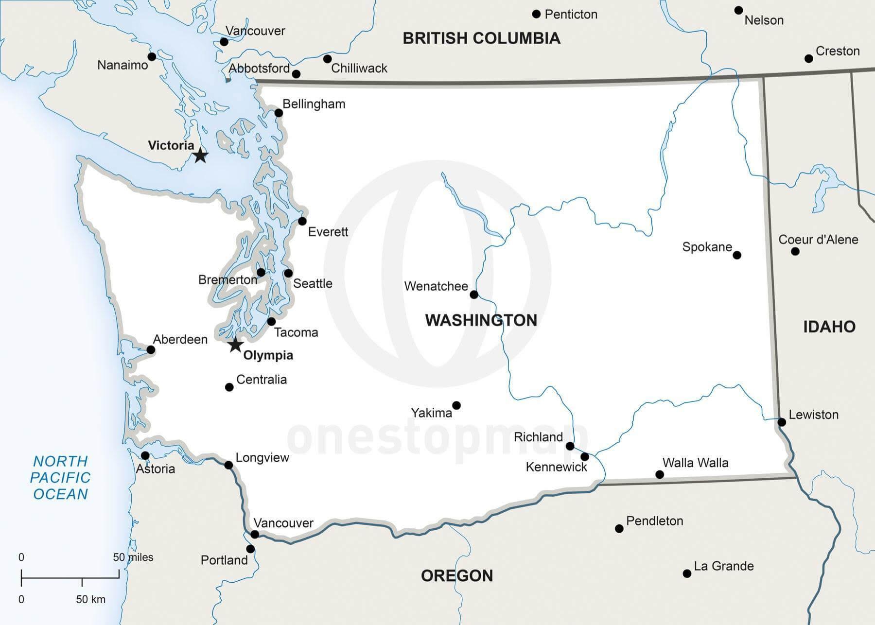 Vector Map Of Washington Political