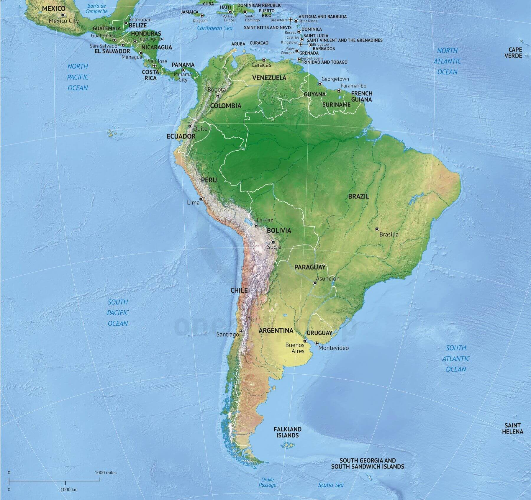 Vector Map South America Continent Relief