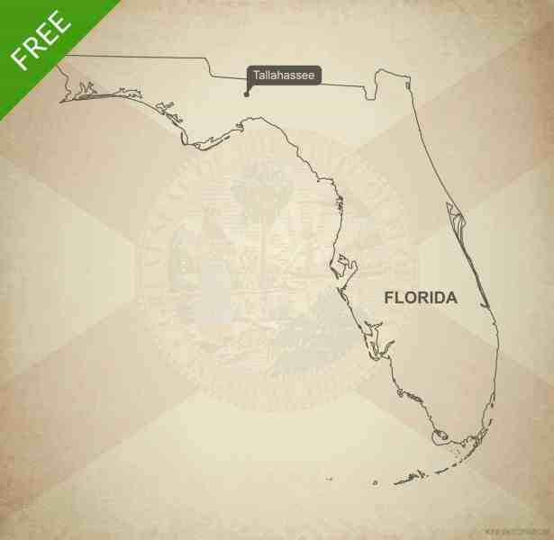 Free vector map of Florida outline   One Stop Map Free blank outline map of the U S  state of Florida