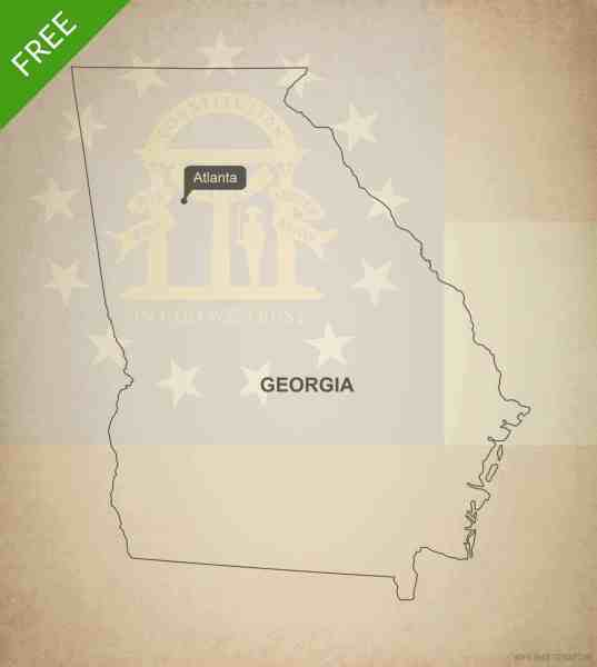 Free vector map of Georgia outline   One Stop Map Free blank outline map of the U S  state of Georgia