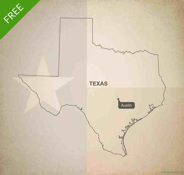 Free vector map of Texas outline   One Stop Map Free blank outline map of the U S  state of Texas