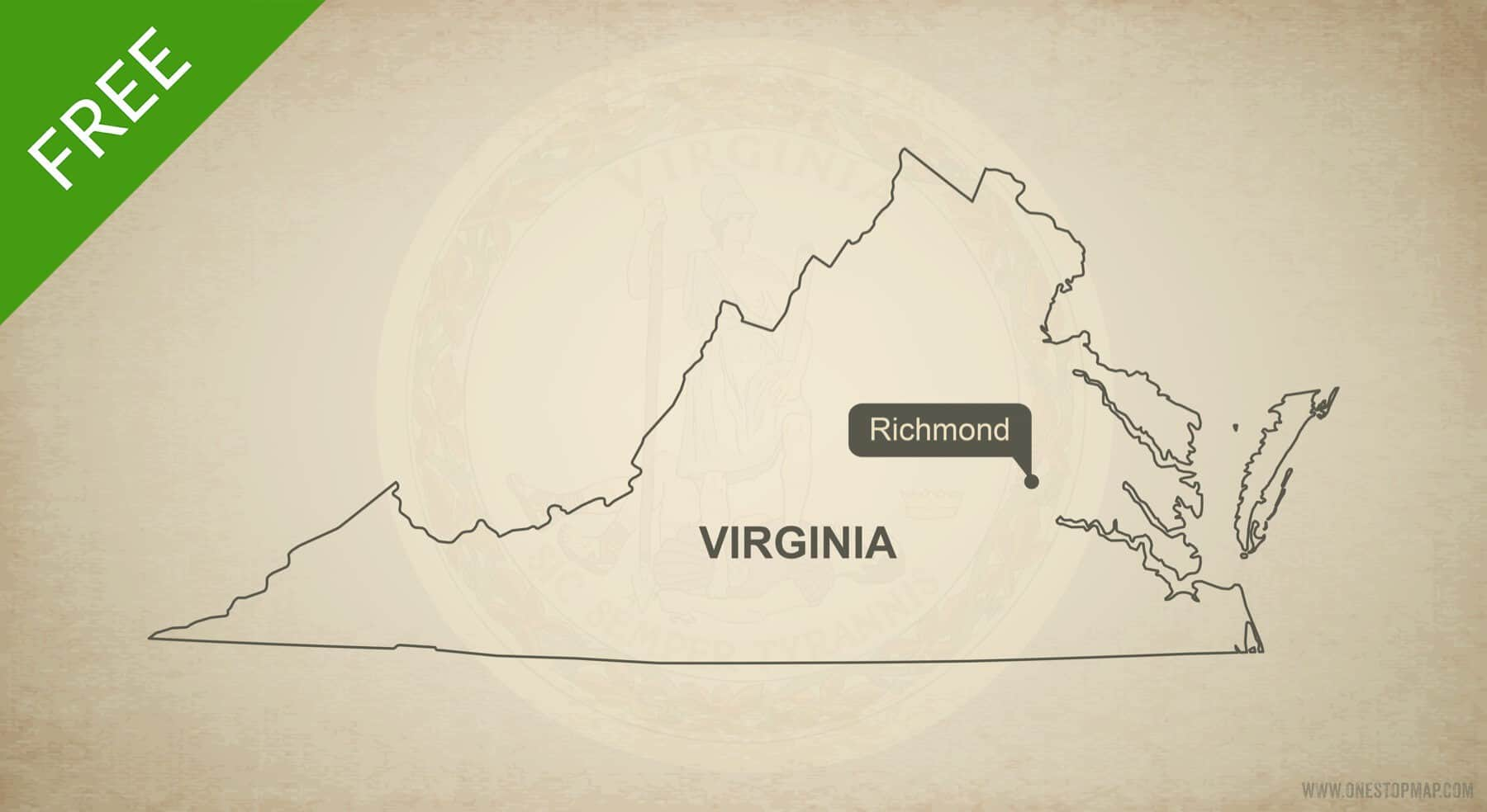 Free Vector Map Of Virginia Outline