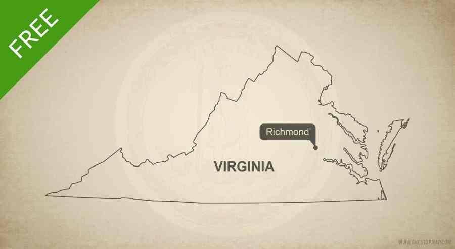 Free vector map of Virginia outline   One Stop Map Free blank outline map of the U S  state of Virginia
