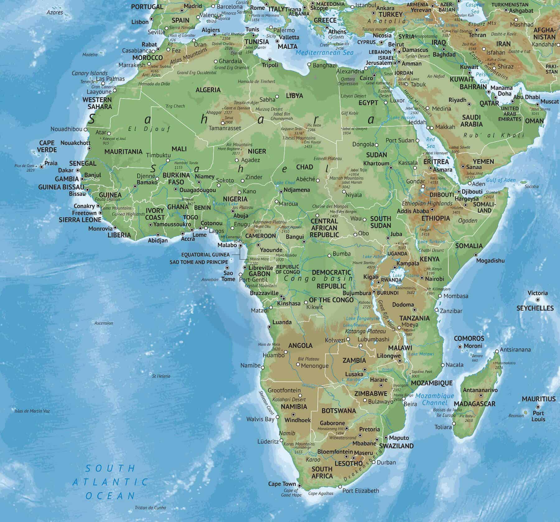 Vector Map Of Africa Continent Physical