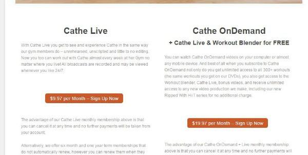 Cathe on Demand Info