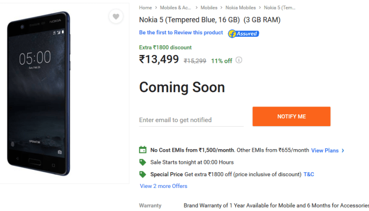 Screenshot-2017-11-6 Nokia 5 Buy Nokia 5 (Tempered Blue, 16 GB) Online at Best Price with Great Offers Only On Flipkart com