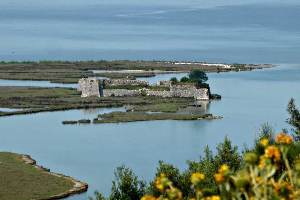 Ali Pasha fortress at the mouth of Vivari Channel, Albania