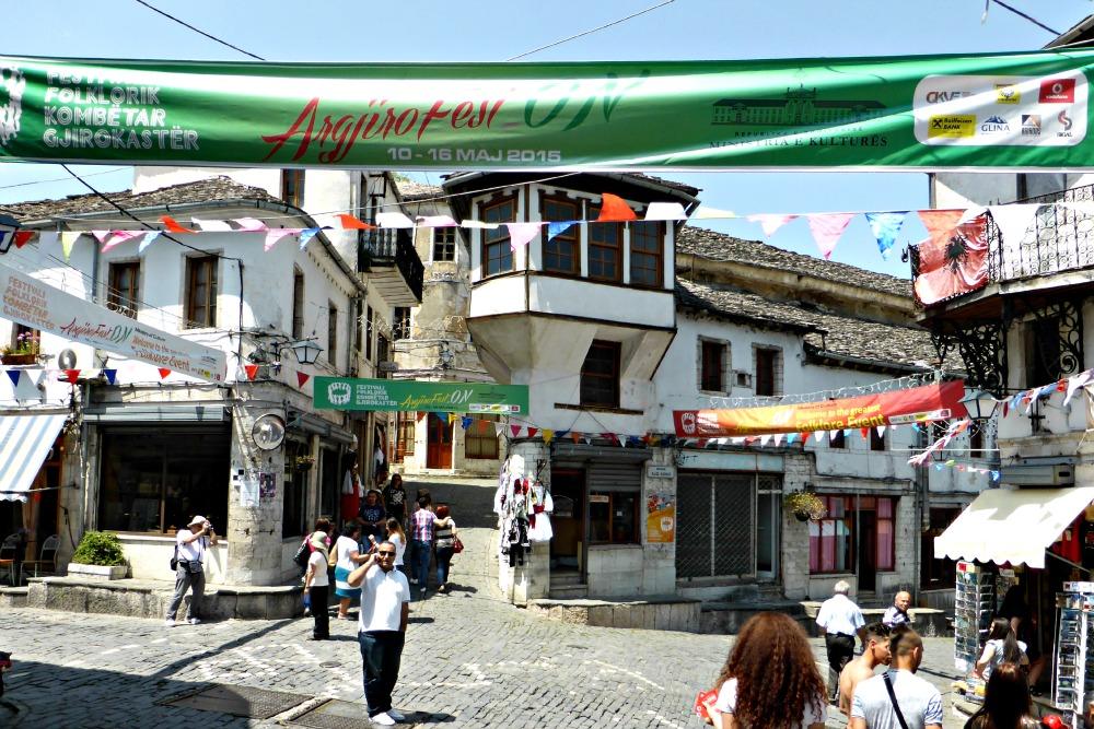 Historic town centre in Gjirokastra, Albania