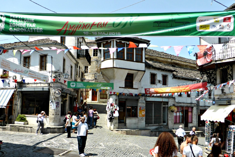 Historic town centre in Gjirokastra, Albania