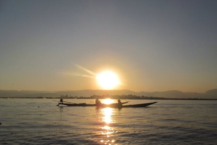 Inle Lake Myanmar Boats Sunset