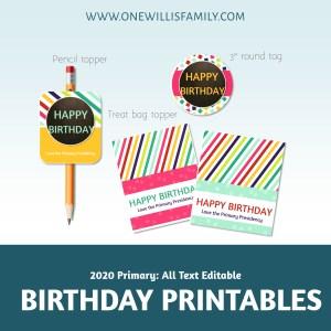 2020 Birthday Printables