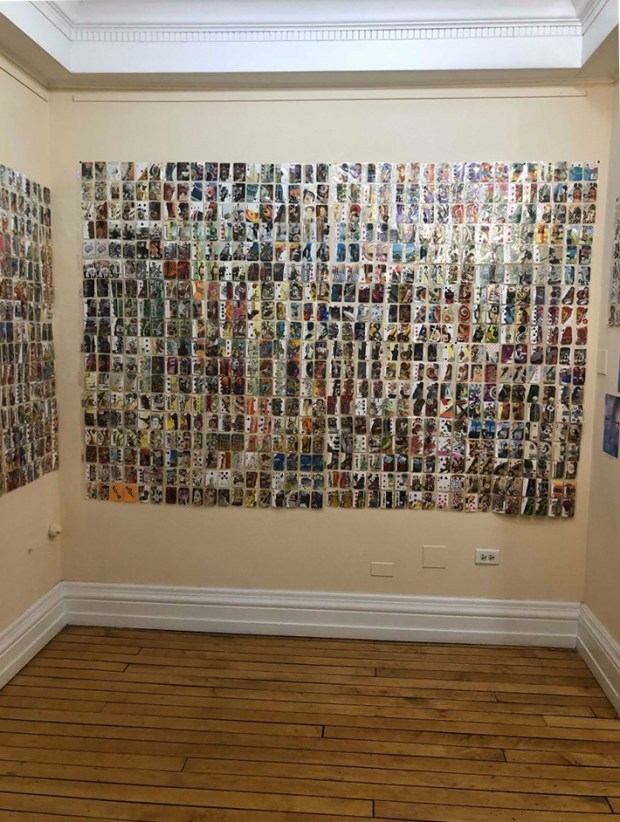 wall of collage art curated by LuEllen Joy Miller-Giera