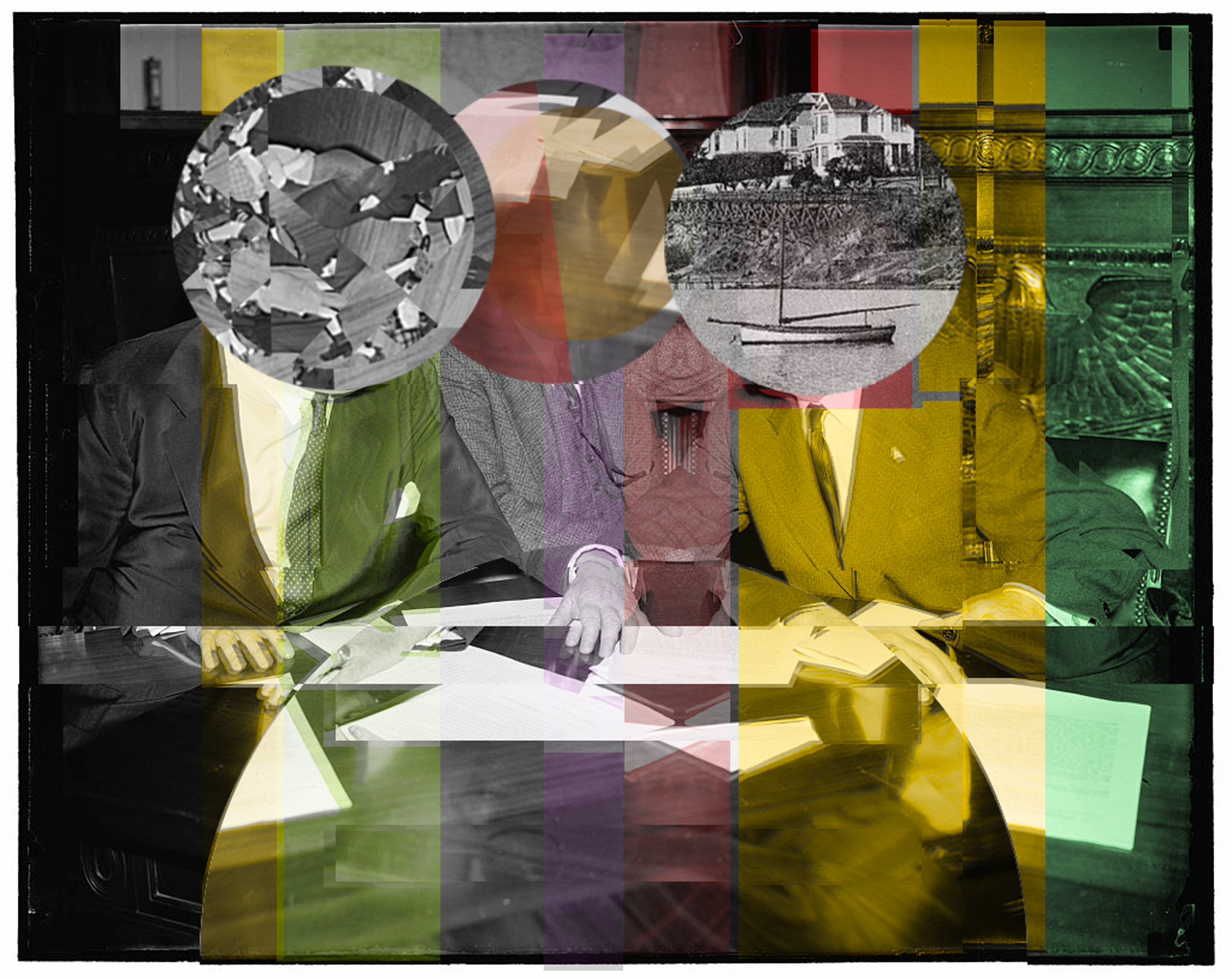 Collage with 3 men and house boat SIZE INCREASE EXPERIMENT MORE COLOR