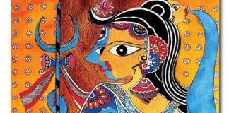 madhubani artwork on mask