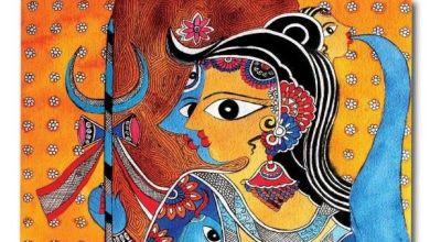 madhubani artwork on mask
