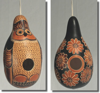 Gourd bird houses from Peru; owl and flower designs. Natural.