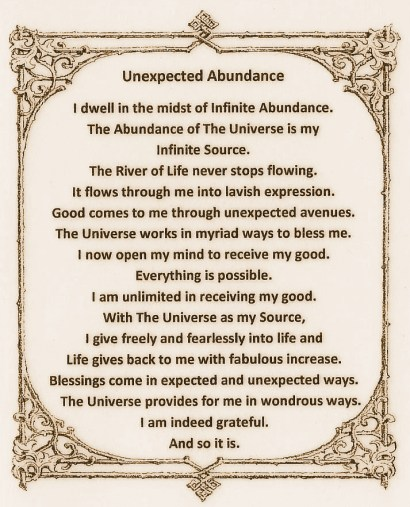 Unexpected Abundance Mantra