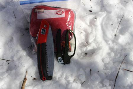 survival gear in a plastic bag