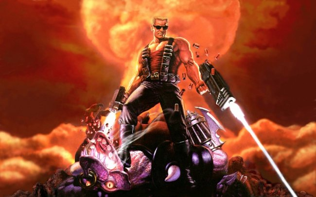 Duke Nukem standing on pile of bodies