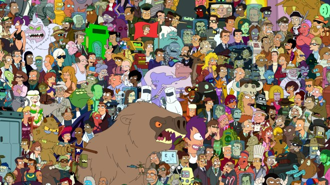 Lots of futurama characters