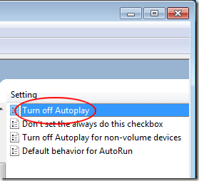 Turn off AutoPlay in Windows 7 for All Users