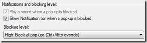 IE Blocking Level