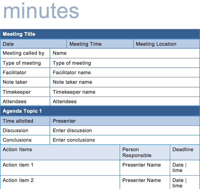 This meeting agenda is compatible with the eos level 10 meeting. 15 Best Meeting Minutes Templates To Save Time