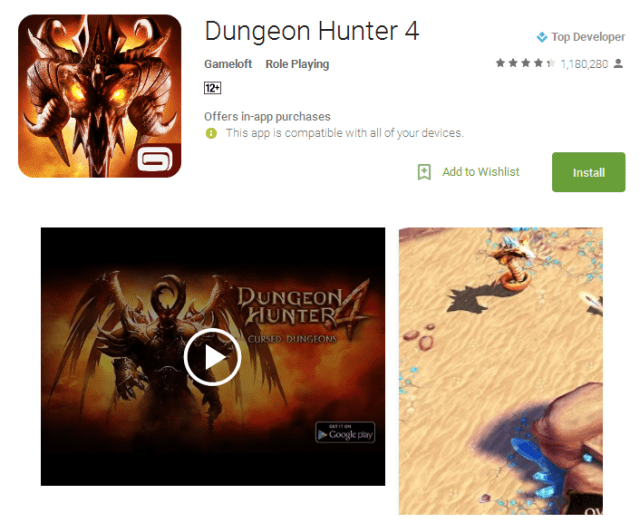 Dungeon Hunter 4 free Android multiplayer gaming App