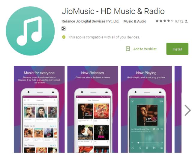 JioMusic free music listening app