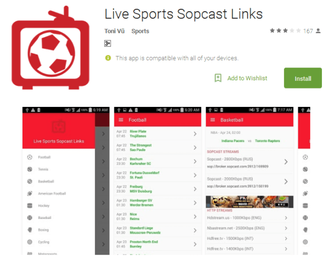 Live Sports Sopcast Links Android Apps