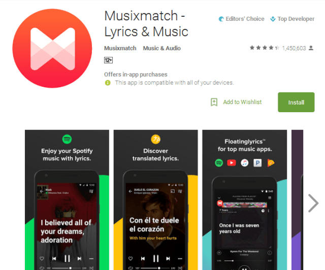 Musixmatch Lyrics Music Song identifier apps
