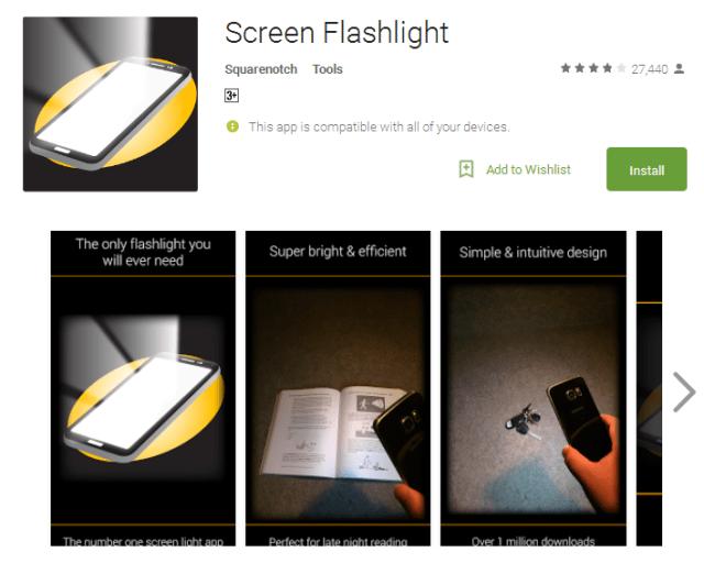 Screen Flashlight free flashlight app for Android