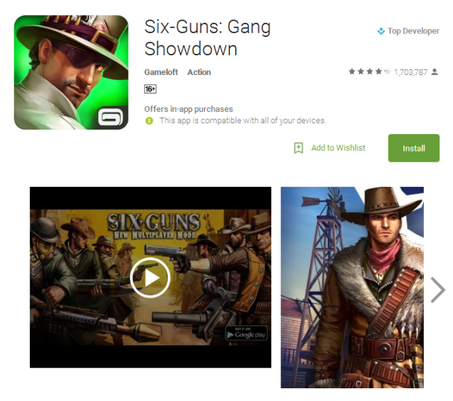 Six Guns Gang Showdown Android game