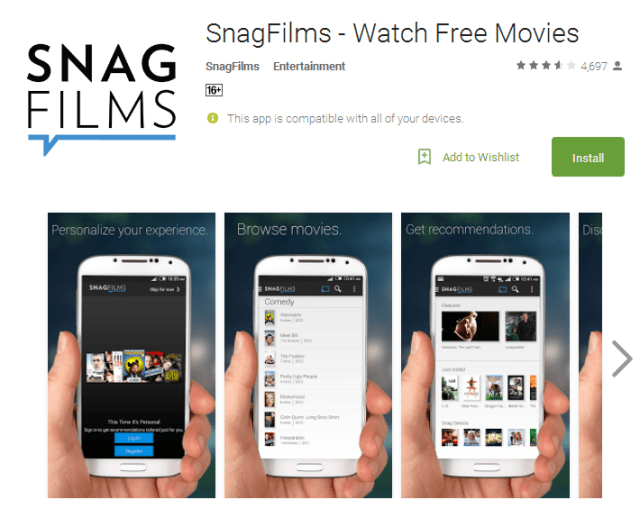 SnagFilms Watch Free Movies Android Apps