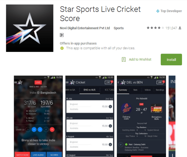 Star Sports Live Cricket Score Android Apps