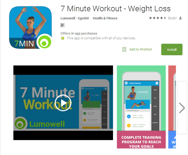 7 Minute Workout Weight Loss Android Apps