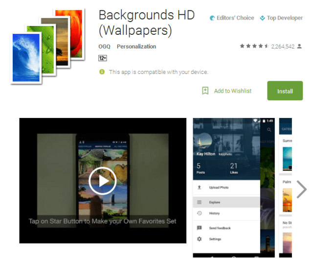 Backgrounds HD Wallpapers Android Apps