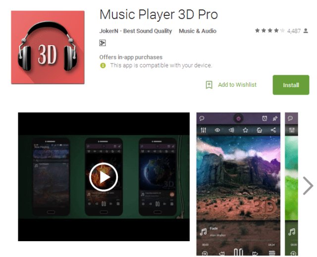 Music Player 3D Pro Android Apps